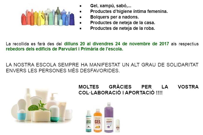 CAMPANYA SOLIDÀRIA DE RECOLLIDA DE PRODUCTES DE NETEJA I D'HIGIENE PERSONAL