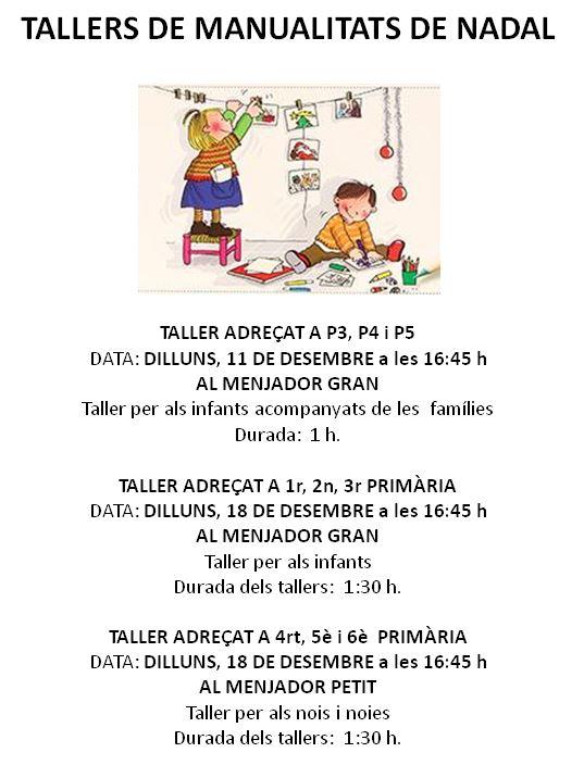 RE-PROGRAMACIÓ TALLERS DE NADAL